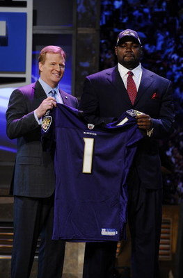 NEW YORK - APRIL 25:  NFL Commissioner Roger Goodell poses with Baltimore Ravens #23 draft pick Michael Oher at Radio City Music Hall for the 2009 NFL Draft on April 25, 2009 in New York City  (Photo by Jeff Zelevansky/Getty Images)