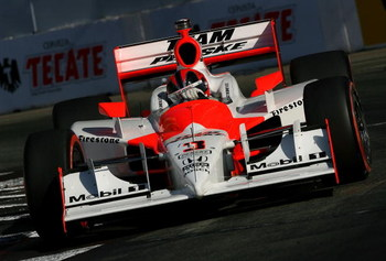 LONG BEACH, CA - APRIL 19: Helio Castroneves drives the #3 Team Penske Dallara Honda during the IRL IndyCar Series Toyota Grand Prix of Long Beach on April 19, 2009 on the streets of Long Beach, California.  (Photo by Darrell Ingham/Getty Images)