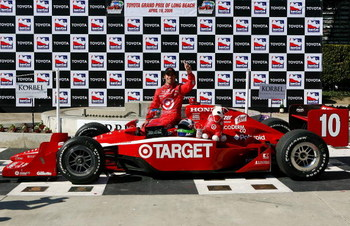 LONG BEACH, CA - APRIL 19:  Dario Franchitti driver of the #10 Target Chip Ganassi Racing Dallara Honda celebrates winning the IRL IndyCar Series Toyota Grand Prix of Long Beach on April 19, 2009 on the streets of Long Beach, California.  (Photo by Darrel