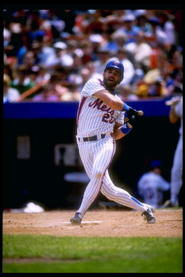 1990:  Howard Johnson of the New York Mets in action during a game at Shea Stadium in Flushing, New York. Mandatory Credit: T. G. Higgins  /Allsport