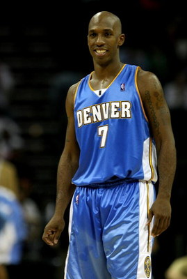 CHARLOTTE, NC - NOVEMBER 11:  Chauncey Billups #7 of the Denver Nuggets smiles after a play that defeated the Charlotte Bobcats during their game at Time Warner Cable Arena on November 11, 2008 in Charlotte, North Carolina. NOTE TO USER: User expressly ac