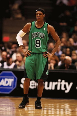 EAST RUTHERFORD, NJ - MARCH 04:  Rajon Rondo #9 of Boston Celtics looks on against the New Jersey Nets during their game on March 4th, 2009 at The Izod Center in East Rutherford, New Jersey.  NOTE TO USER: User expressly acknowledges and agrees that, by d