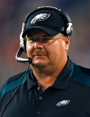 FOXBORO, MA - AUGUST 22: Andy Reid of the Philadelphia Eagles smiles during a preseason game against the New England Patriots at Gillette Stadium on August 22, 2008 in Foxboro, Massachusetts. (Photo by Jim Rogash/Getty Images)