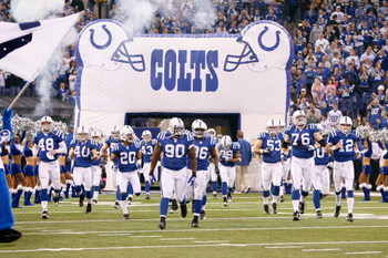 INDIANAPOLIS - DECEMBER 28:  The Indianapolis Colts celebrate as they enter the field before the game against the Tennessee Titans and the Indianapolis Colts on December 28, 2008 at Lucas Oil Stadium in Indianapolis, Indiana. (Photo by: Jamie Squire/Getty
