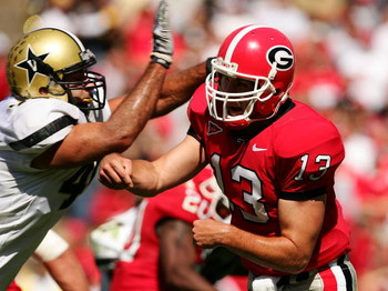 ATHENS, GA- OCTOBER 14:  Joe Tereshinski, #13 of Georgia is hit by a Vanderbilt defender after throwing a pass during their game at Sanford Stadium on October 14, 2006 in Athens, Georgia.  (Photo by Scott Halleran/Getty Images)