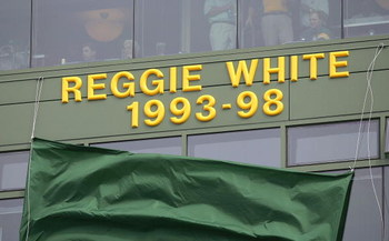 GREEN BAY, WI - SEPTEMBER 10: The name of the late Reggie White of the Green Bay Packers, inducted into the NFL Hall of Fame this summer, is unveiled before a game between the Packers and the Chicago Bears on September 10, 2006 at Lambeau Field in Green B