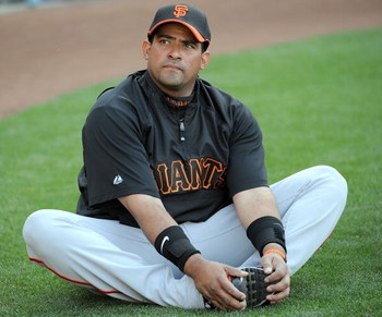 LOS ANGELES, CA - APRIL 16:  Bengie Molina #1 of the San Francisco Giants warms up before the game against the Los Angeles Dodgers at Dodger Stadium on April 16, 2009 in Los Angeles, California.  (Photo by Harry How/Getty Images)