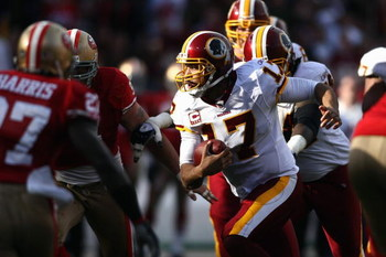 SAN FRANCISCO - DECEMBER 28:  Quarterback Jason Campbell #17 of the Washington Redskins runs the ball during the game against of the San Fransisco 49ers at Candlestick Park on December 28, 2008 in San Francisco, California. (Photo by: Jonathan Ferrey/Gett