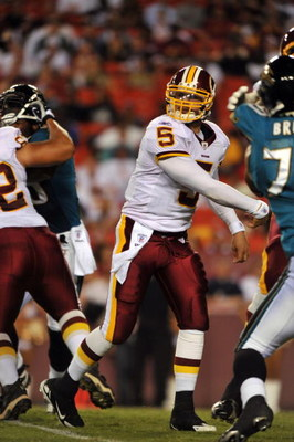 LANDOVER, MD - AUGUST 28: Quarterback Colt Brennan #5 of the Washington Redskins passes the ball during the preseason game against the Jacksonville Jaguars on August 28, 2008 at FedEx Field in Landover, Maryland. (Photo by Larry French/Getty Images)