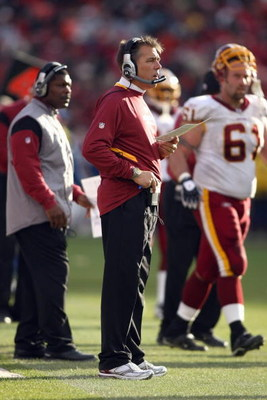SAN FRANCISCO - DECEMBER 28:  Head coach  Jim Zorn of the Washington Redskins watches the action from the sidelines during the game against of the San Fransisco 49ers at Candlestick Park on December 28, 2008 in San Francisco, California. (Photo by: Jonath