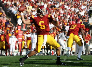 PASADENA, CA - JANUARY 01:  Quarterback Mark Sanchez #6 of the USC Trojans throws a pass during the 95th Rose Bowl Game presented by Citi against the Penn State Nittany Lions at the Rose Bowl on January 1, 2009 in Pasadena, California. The Trojans defeate