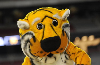 GLENDALE, AZ - MARCH 26:  The mascot of the Missouri Tigers performs during the game against the Memphis Tigers in the Sweet 16 of the NCAA Division I Men's Basketball Tournament at the University of Phoenix Stadium on March 26, 2009 in Glendale, Arizona.