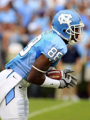 CHAPEL HILL, NC - OCTOBER 11:  Hakeem Nicks #88 of the North Carolina Tar Heels runs upfield against the Notre Dame Fighting Irish at Kenan Stadium October 11, 2008 in Chapel Hill, North Carolina.  (Photo by Scott Halleran/Getty Images)