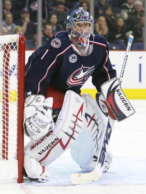 COLUMBUS, OHIO - APRIL 23:  Steve Mason #1 of the Columbus Blue Jackets keeps his eye on the play against the Detroit Red Wings during Game Four of the Western Conference Quarterfinals of the 2009 Stanley Cup Playoffs on April 23, 2009 at the Nationwide A