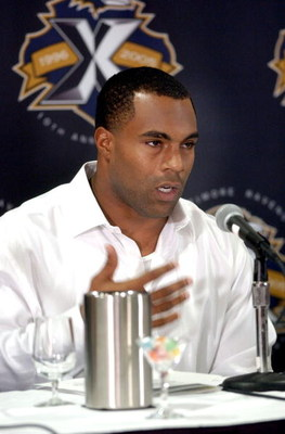 ATLANTA - JUNE 3:  Jamal Lewis of the Baltimore Ravens describes his time in prison and future plans during a press conference June 3, 2005 at the Marriott Marquee Hotel in Atlanta, Georgia. Lewis was serving a four-month prison term in Federal Prison Cam