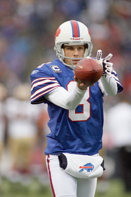 ORCHARD PARK - NOVEMBER 30:  Brian Moorman #8 of the Buffalo Bills punts the ball during the game against the San Francisco 49ers on November 30, 2008 at Ralph Wilson Stadium in Orchard Park, New York. (Photo by: Rick Stewart/Getty Images)