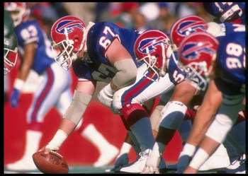 22 Oct 1989:  Center Kent Hull of the Buffalo Bills prepares to snap the ball during a game against the New York Jets at Rich Stadium in Orchard Park, New York.  The Bills won the game, 34-3. Mandatory Credit: Rick Stewart  /Allsport