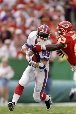 14 Sep 1997:  Wide receiver Danan Hughes #83 of the Kansas City Chiefs and wide receiver Steve Tasker #89 of the Buffalo Bills in action during a game at Arrowhead Stadium in Kansas City, Missouri.  The Chiefs won the game 22-16. Mandatory Credit: Andy Ly