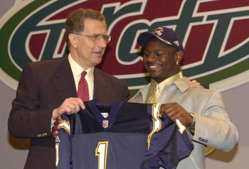 21 Apr 2001:  LaDainian Tomlinson with NFL Commissioner Paul Tagliabue after Tomlinson was selected fifth in the NFL Draft by the San Diego Chargers at Madison Square Garden in New York City. Mandatory Credit: Ezra Shaw/ALLSPORT