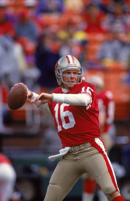 9 Jan 1993:  Joe Montana #16 of the San Francisco 49ers gets ready to pass the ball during a NFC Division Play-off Game against the Washington Redskins at the RFK Stadium in Washington, D.C. The 49ers defeated the Redskins 20-13. Mandatory Credit: Otto Gr