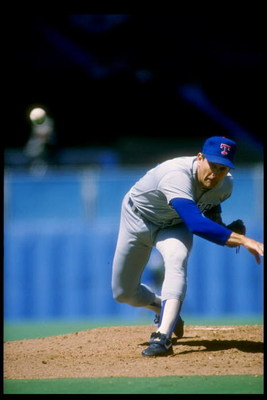 1989:  Pitcher Nolan Ryan of the Texas Rangers throws the ball. Mandatory Credit: Rick Stewart  /Allsport