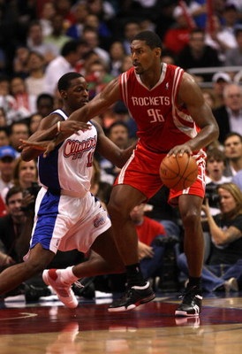 LOS ANGELES, CA - NOVEMBER 07:  Ron Artest #96 of the Houston Rockets controls the ball against Al Thornton #12 of the Los Angeles Clippers on November 7, 2008 at Staples Center in Los Angeles, California.  The Rockets won 92-83.  NOTE TO USER: User expre