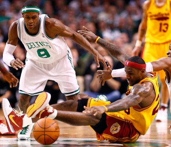 BOSTON, MA - MARCH 6: LeBron James #23 of the Cleveland Cavaliers battles Rajon Rondo #9 of the Boston Celtics at the TD Banknorth Garden on March 6, 2009 in Boston, Massachusetts. The Celtics won 105-94. NOTE TO USER: User expressly acknowledges and agre