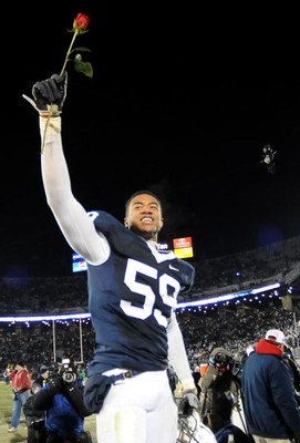 STATE COLLEGE, PA - NOVEMBER 22: Aaron Maybin #59 of the Penn State Nittany Lions reacts after clinching the Big Ten title and clinching a bid to the Rose Bowl after the game against the Michigan State Spartans on November 22, 2008 at Beaver Stadium in St