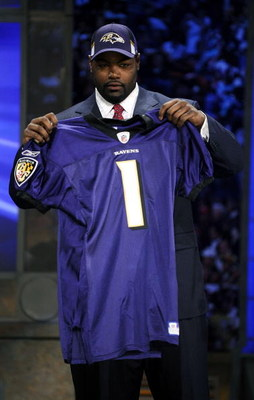 NEW YORK - APRIL 25:  Baltimore Ravens #23 draft pick Michael Oher poses for a photograph at Radio City Music Hall for the 2009 NFL Draft on April 25, 2009 in New York City  (Photo by Jeff Zelevansky/Getty Images)