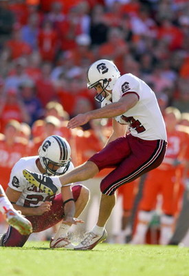 CLEMSON, SC - NOVEMBER 25:  Ryan Succop #14 of the South Carolina Gamecocks kicks the field goal during the game against the Clemson Tigers at Memorial Stadium on November 25, 2006 in Clemson, South Carolina. South Carolina won 31-28. (Photo by Grant Halv