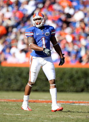 GAINESVILLE, FL - NOVEMBER 22:  Percy Harvin #1 of the Florida Gators stands on the field during the game against the Citadel Bulldogs at Ben Hill Griffin Stadium on November 22, 2008 in Gainesville, Florida.  (Photo by Sam Greenwood/Getty Images)