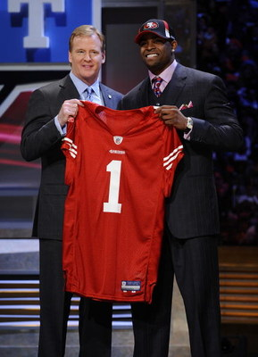 NEW YORK - APRIL 25:  NFL Commissioner Roger Goodell poses with with San Francisco 49ers #10 draft pick Michael Crabtree at Radio City Music Hall for the 2009 NFL Draft on April 25, 2009 in New York City  (Photo by Jeff Zelevansky/Getty Images)