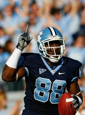 CHAPEL HILL, NC - NOVEMBER 08:  Receiver Hakeem Nicks #88 of the North Carolina Tar Heels reacts after scoring a touchdown against the Georgia Tech Yellow Jackets during the game at Kenan Stadium on November 8, 2008 in Chapel Hill, North Carolina.  (Photo