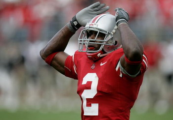 COLUMBUS, OH - SEPTEMBER 02:  Malcolm Jenkins #2 of the Ohio State Buckeyes tries to get the crowd noise up against the Northern Illinois Huskies on September 2, 2006 at Ohio Stadium in Columbus, Ohio. Ohio State won the game 35-12.  (Photo by Gregory Sha