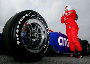 KANSAS CITY, KS - APRIL 25: Milka Duno, driver of the #23 CITGO Dreyer and Reinbold Racing Dallara Honda during practice for the IRL IndyCar Series  Road Runner Turbo Indy 300 on April 25, 2009 at the Kansas Speedway in Kanss City, Kansas.  (Photo by Darr