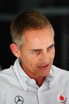 SAKHIR, BAHRAIN - APRIL 26:  (L-R) McLaren Mercedes Team Principal Martin Whitmarsh is seen in his team garage before the Bahrain Formula One Grand Prix at the Bahrain International Circuit on April 26, 2009 in Sakhir, Bahrain.  (Photo by Clive Mason/Gett