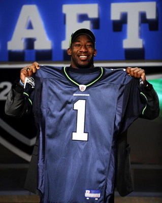 NEW YORK - APRIL 25:  Seattle Seahawks draft pick Aaron Curry poses with his new jersey at Radio City Music Hall for the 2009 NFL Draft on April 25, 2009 in New York City  (Photo by Jeff Zelevansky/Getty Images)