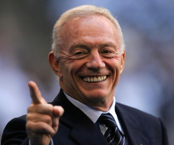 IRVING, TX - JANUARY 13:  Owner of the Dallas Cowboys, Jerry Jones smiles on the sidelines before the NFC Divisional Playoff game against the New York Giants at Texas Stadium on January 13, 2008 in Irving, Texas.  (Photo by Ronald Martinez/Getty Images)