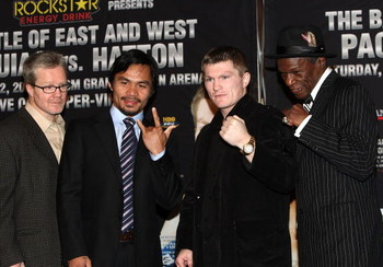 HOLLYWOOD - MARCH 30:  Trainer Freddie Roach, professional boxer Manny Pacquiao, professional boxer Ricky Hatton and trainer Floyd Mayweather attend 'The Battle of East and West', a promotion for the May 2, 2009 World Junior Welterweight Championship boxi