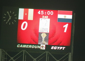 ACCRA, GHANA - FEBRUARY 10: The scoreboard shows Egypt's winning score after the AFCON Final between Egypt and Cameroon at the Ohene Djan stadium on February 10, 2008 in Accra, Ghana. (Lefty Shivambu/Gallo/Getty Images)
