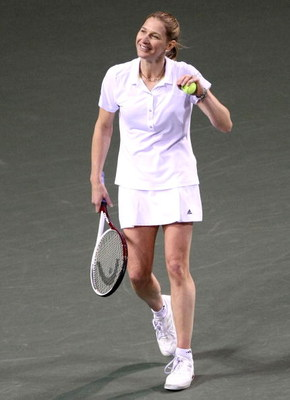 TOKYO - MARCH 15:  Steffi Graf reacts to the audience in her match against Martina Navratilova during the Dream Match 2008 at Ariake Colosseum on March 15, 2008 in Tokyo, Japan. Dream Match 2008 is an exhibition where 3 tennis players, Steffi Graf, Kimiko