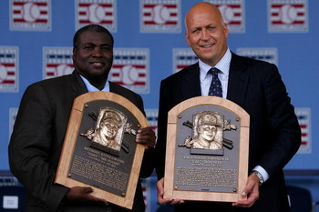 COOPERSTOWN, NY - JULY 29:  2007 inductee's Tony Gwynn (L) and Cal Ripken Jr. pose with their plaques  at Clark Sports Center during the Baseball Hall of Fame induction ceremony on July 29, 2007 in Cooperstown, New York.   (Photo by Chris McGrath/Getty Im