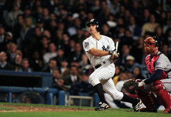 26 Oct 1999: Chad Curtis #28 of the New York Yankees hit the winning home run during the World Series Game three against the Atlanta Braves at Yankee Stadium in the Bronx, New York. The Yankees defeated the Braves 6-5.