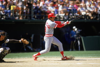 1981:  Dave Concepcion of the Cincinnati Reds swings at the pitch during a MLB game in the 1981 season. ( Photo by: Stephen Dunn/Getty Images)