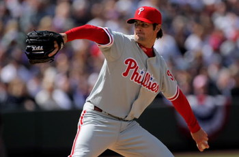 DENVER - APRIL 10:  Starting pitcher Cole Hamels #35 of the Philadelphia Phillies delivers against the Colorado Rockies during MLB action on Opening Day at Coors Field on April 10, 2009 in Denver, Colorado. Hamels collected the loss as the Rockies defeate