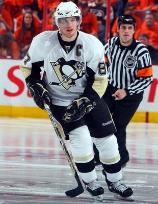 PHILADELPHIA - APRIL 25:  Sidney Crosby #87 of the Pittsburgh Penguins skates against the Philadelphia Flyers during Game Six of the Eastern Conference Quarterfinal Round of the 2009 NHL Stanley Cup Playoffs  at the Wachovia Center on April 25, 2009 in Ph