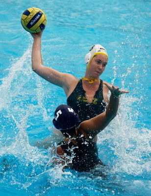 SYDNEY, AUSTRALIA - JANUARY 17:  Breanna Appel of Australia competes with Anna Kertes of Hungary in the Women's Waterpolo during day four of the Australian Youth Olympic Festival at Parramatta Pool on January 17, 2009 in Sydney, Australia.  (Photo by Bren