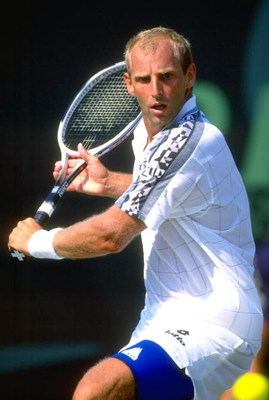 30 Mar 1997:  Thomas Muster of Austria plays a backhand return during his match against Sergi Bruguera of Spain at the Lipton Championships in Key Biscayne, Florida, USA. Muster won the match. \ Mandatory Credit: Clive  Brunskill/Allsport