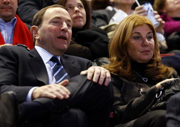 MONTREAL - JANUARY 25: Gary Bettman and Shelli Bettman attend the NHL All Star Game at Bell Centre on January 25, 2009 in Montreal.  (Photo by Phillip MacCallum/Getty Images for NHL)
