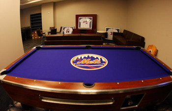FLUSHING, NY - MARCH 25:  A general view of the New York Mets players lounge with customized billiards table at Citi Field on March 25, 2009 in the Flushing neighborhood of the Queens borough of New York City.  (Photo by Mike Stobe/Getty Images)